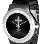 christian cross in mist watch black