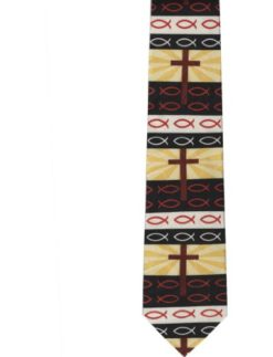CTC-Gifts-Mens-Christian-Symbols-Neck-Tie-Crosses-and-Fish-Black-0