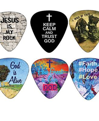 Christian-Guitar-Picks-12-pack-Bible-Inspirational-Messages-Celluloid-Medium-by-NewEights-Best-Gift-for-Church-Pastor-Worship-Team-Baptism-0