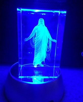 Jesus-Loves-Me-Night-Light-or-Desk-Display-Christus-in-Crystal-3-inches-tall-with-plug-in-power-supply-for-rotating-LED-light-base-with-rainbow-colors-or-pure-white-light-Presented-in-a-beautiful-gift-0