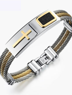Men-s-Punk-Stainless-Steel-Bracelet-3-Rows-Wire-Chain-Bracelet-Bangles-Fashion-Gold-Cross-Bangle-1