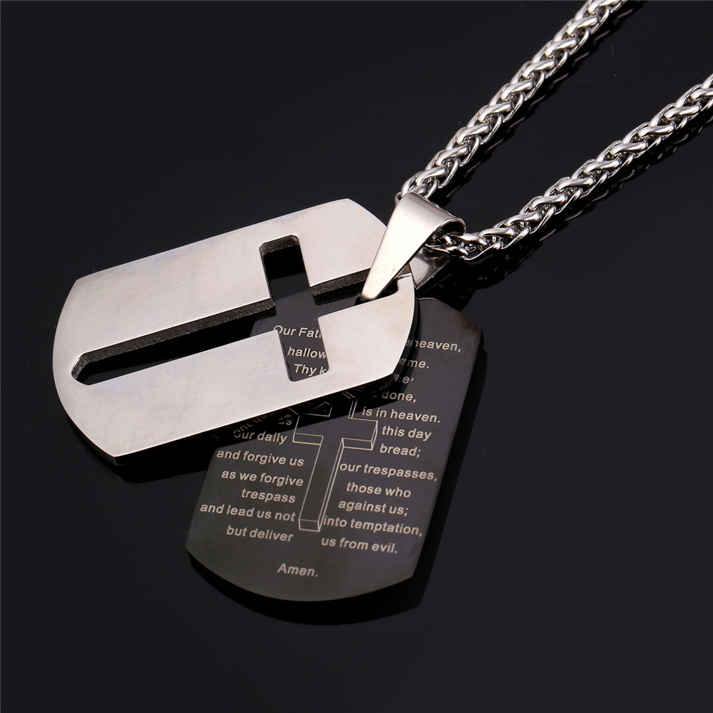 Lords prayer cross stainless steel necklace exalted design all lords prayer cross stainless steel necklace exalted design all things christian audiocablefo