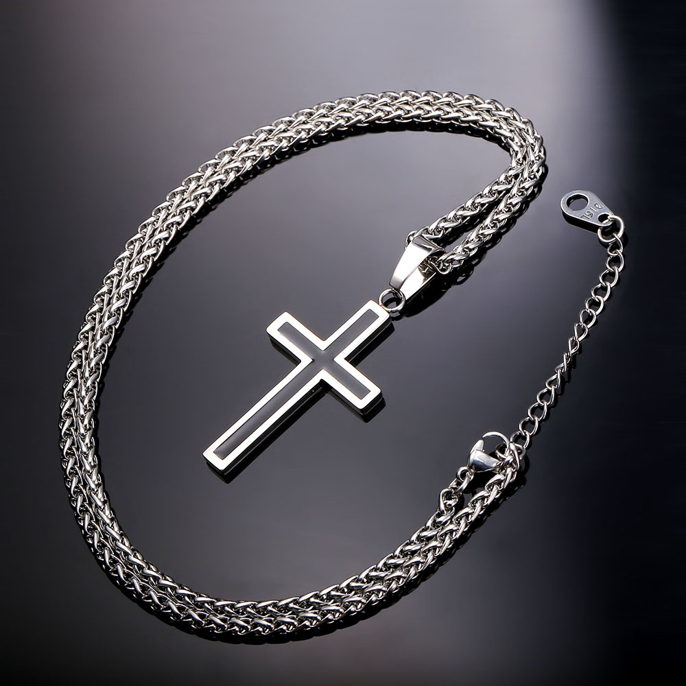 Christian womens jewelry : Stainless steel cross necklace exalted design all